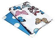 """Двуспальный комплект (Бязь)   Постельное белье от производителя """"Королева Ночи""""   Бабочки на белом и голубом, фото 2"""