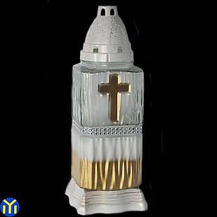 Лампадка крест с лентой, белая 48 часов
