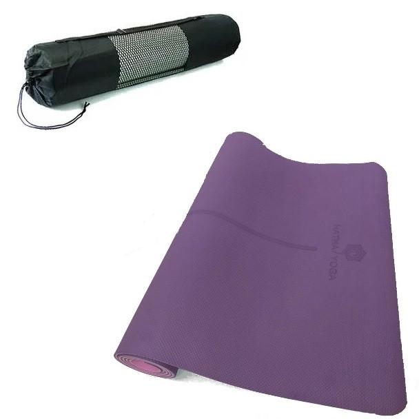 Килимок для йоги та фітнесу Hatha Yoga 6 мм, фіолетовий + Подарунок чохол