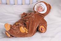 """Велюровый утепленный человечек """"Мишка"""" для новорожденного"""