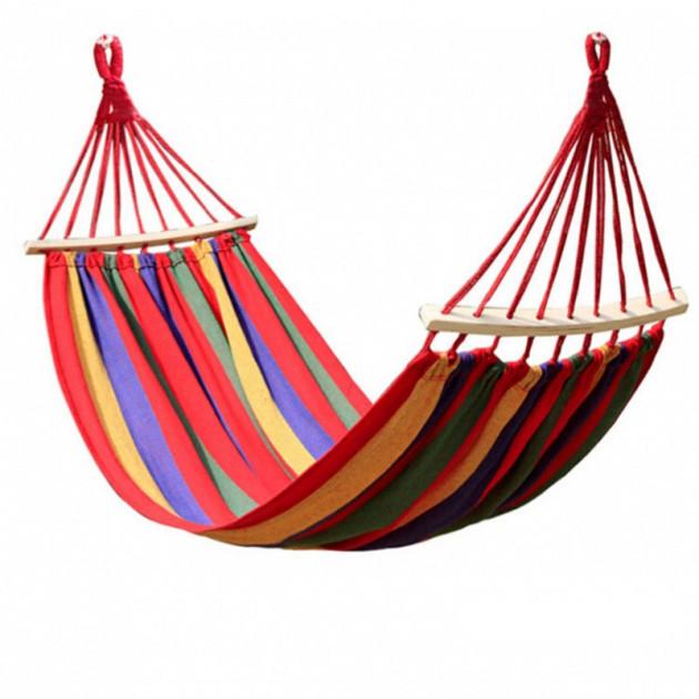 Хлопковый подвесной гамак с деревянными планками,  размер 250*100 см