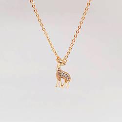 """Колье с подвеской """"Олененок"""" Xuping из медицинского золота, белые фианиты, позолота 18K, 63501"""