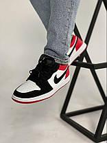 Баскетбольні кросівки Air Jordan 1 Retro Low Black/Red, фото 2