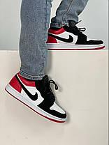 Баскетбольні кросівки Air Jordan 1 Retro Low Black/Red, фото 3