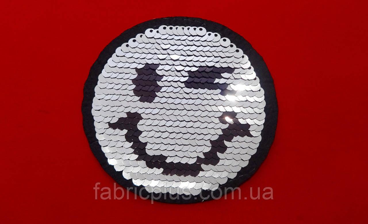 Термоаплікація з паєтками Смайлик 8,3 см чорний / срібло
