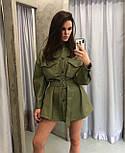 Сорочка жіноча модна з еко-шкіри з поясом, фото 2
