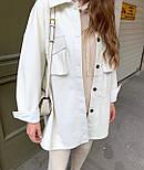 Сорочка жіноча модна з еко-шкіри з поясом, фото 3