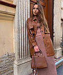 Рубашка женская модная из эко-кожи с поясом, фото 4