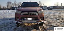 Защита переднего бампера  двойной ус Toyota Hilux 8 (2015-2017)