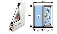 Металопластикове вікно REHAU (Рехау) Euro-Design 60 фурнитура Siegenia Favorit (німеч.) 1100*1300мм, фото 1