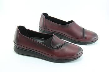 Туфли женские кожаные на низком ходу Aras Shoes 4505-BORDO