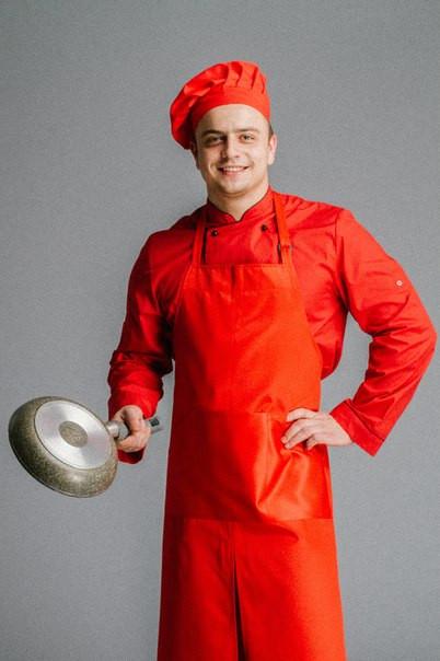 Фартук поварской/официантский  с нагрудником в пол водоотталкивающий,красный