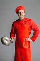 Фартук поварской/официантский  с нагрудником в пол водоотталкивающий,красный, фото 1