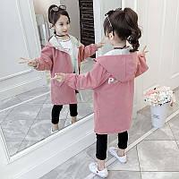 Детская ветровка для девочки 4 года - 10 лет, коттон, удлиненная, размеры: 110, 120, 130, 140, 150, 160