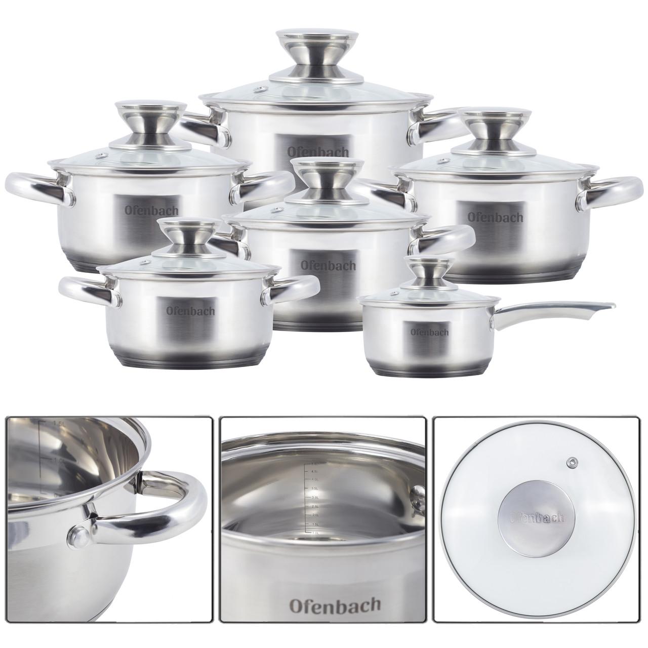 Набор посуды Ofenbach 12 предметов из нержавеющей стали KM-100001