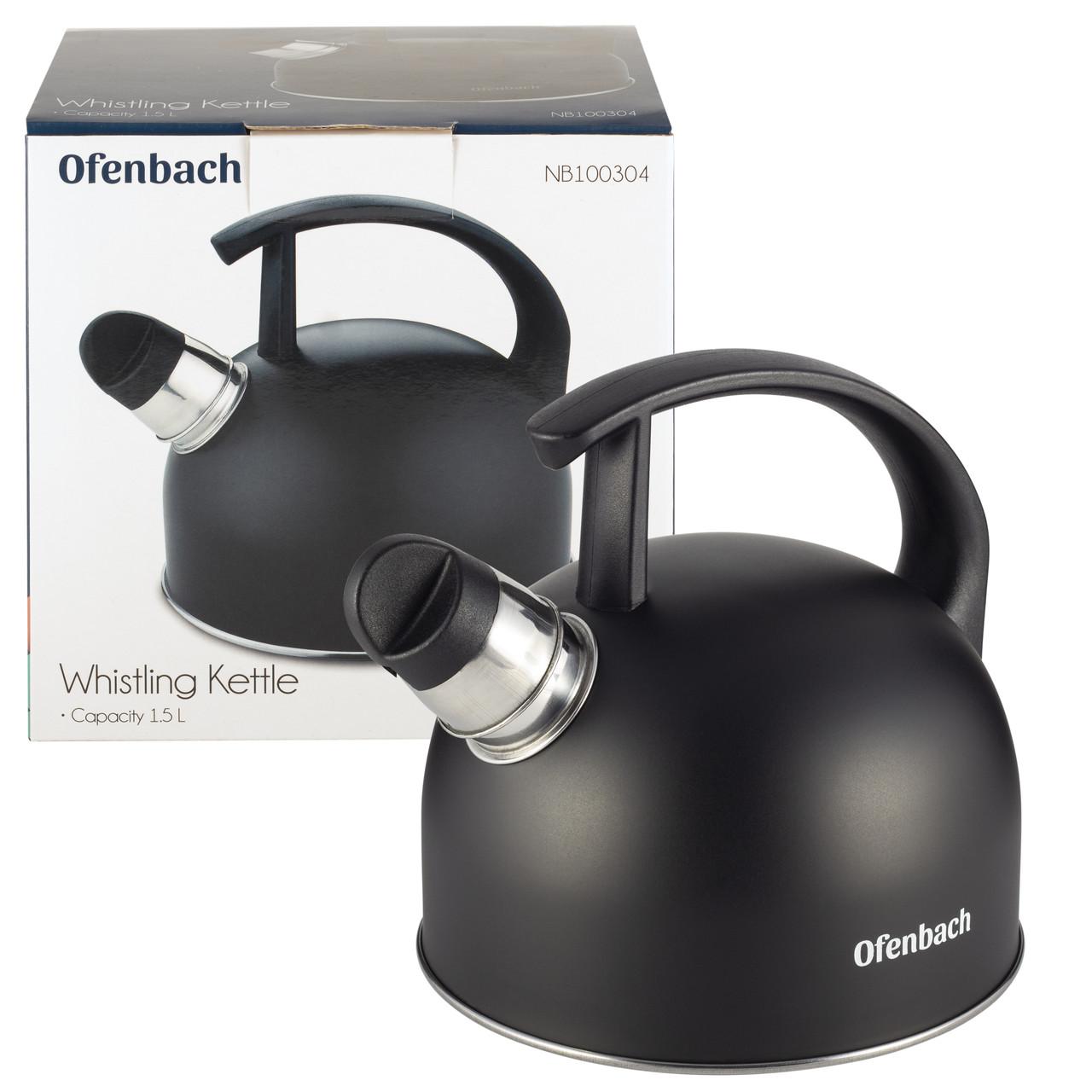 Чайник Ofenbach Черный 1,5л из нержавеющей стали со свистком и нейлоновой ручкой для индукции и газа KM-100304