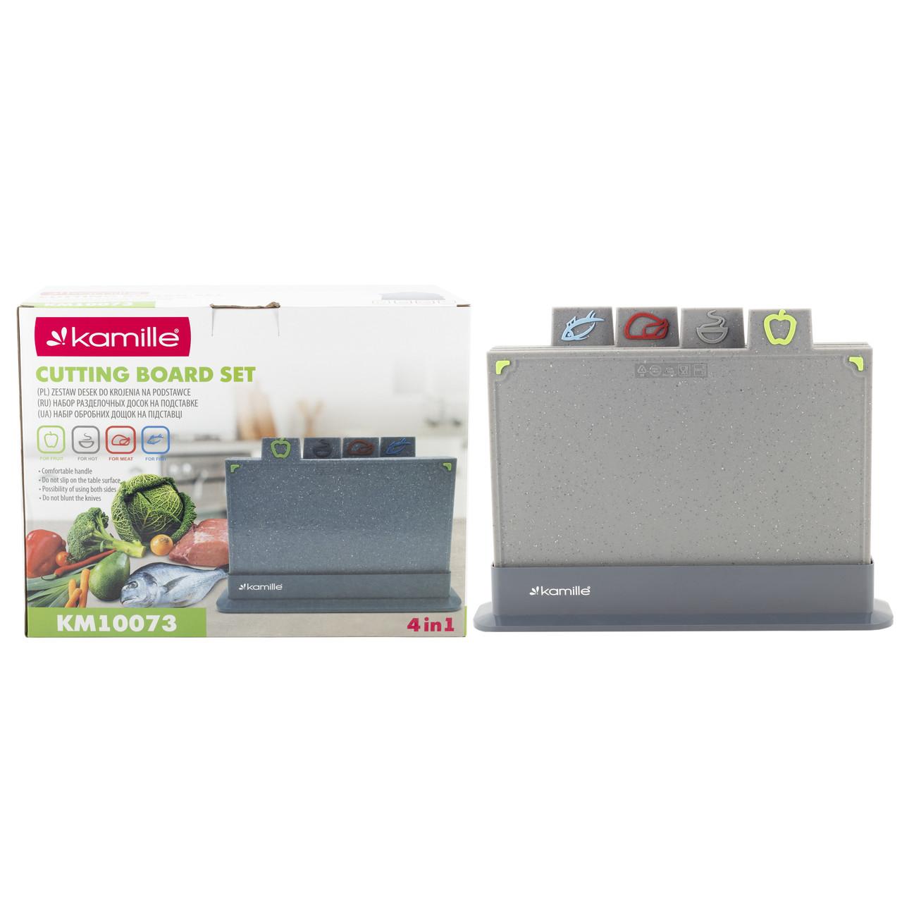 Набір обробні дошки + підставка Kamille 29*19,5*0,6 см пластикова (сірий граніт) KM-10073