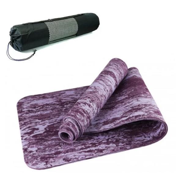 Коврик для йоги и фитнеса Yaga Mat мрамор 6 мм, салатовый + Подарок чехол