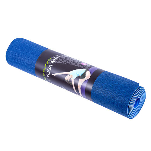 Килимок для йоги та фітнесу 6 мм Оригінал IronMaster TPE+TC, двошаровий, колір синій