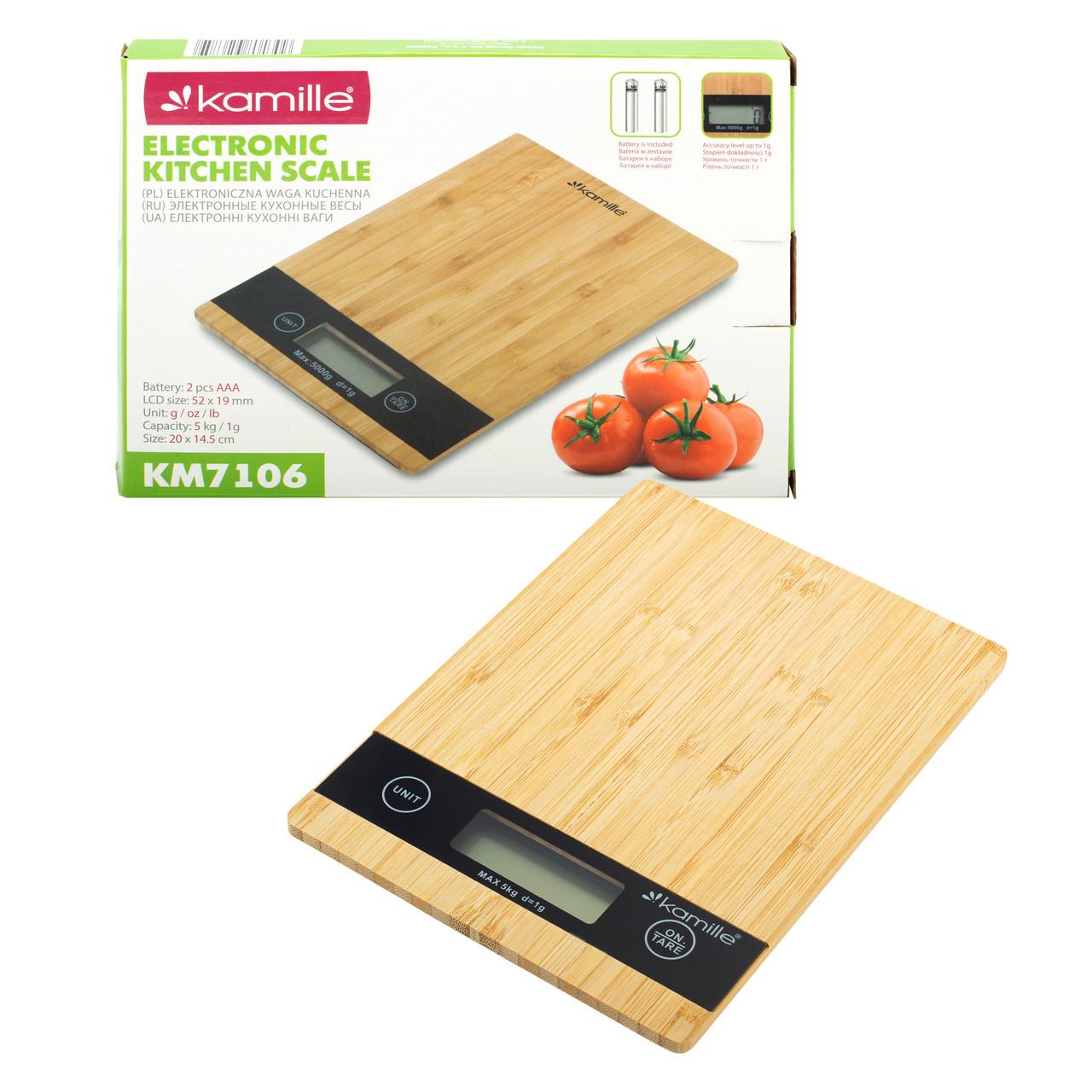 Ваги електронні кухонні Kamille 20*20*2,3 см KM-7109