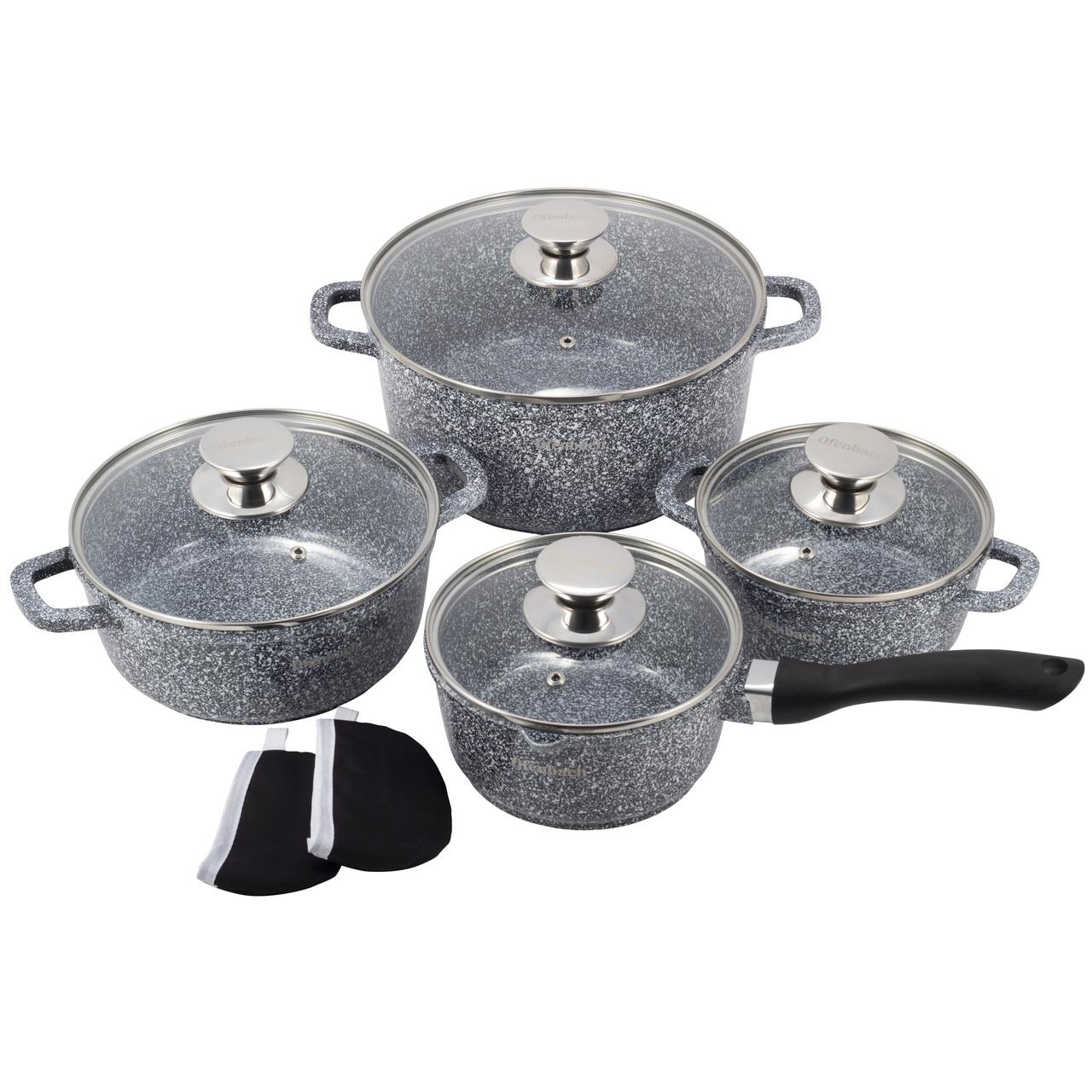 Набор посуды Ofenbach 9 предметов с прихватками (ковш 16см, кастр.16см,20см,24см) KM-100505