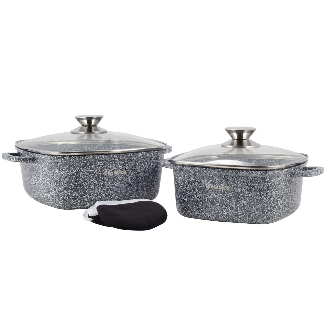 Набор посуды Ofenbach 5 предметов с прихватками (кастр.20см,24см) KM-100508