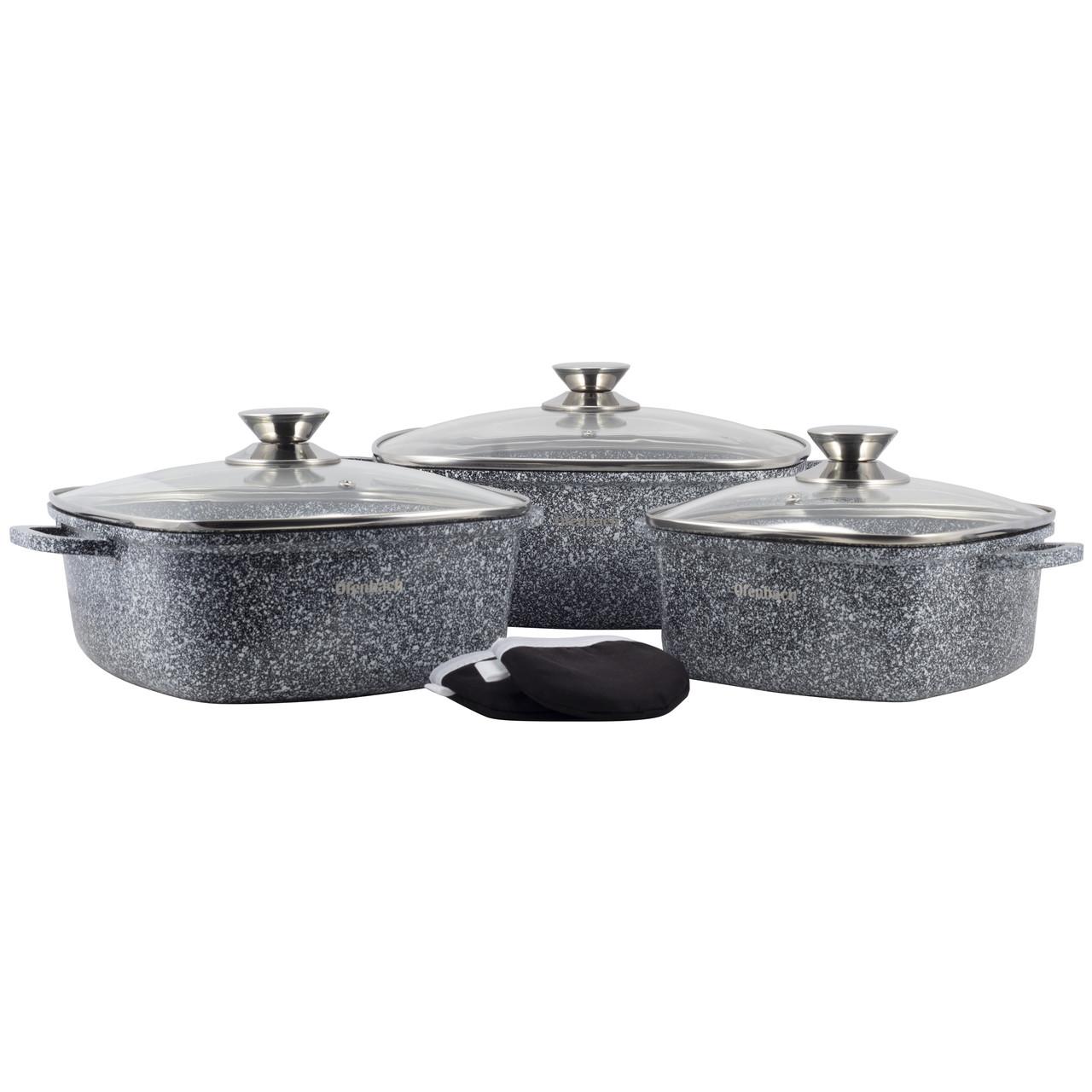 Набор посуды Ofenbach 7 предметов с прихватками (кастр.20см,24см,28см) KM-100509