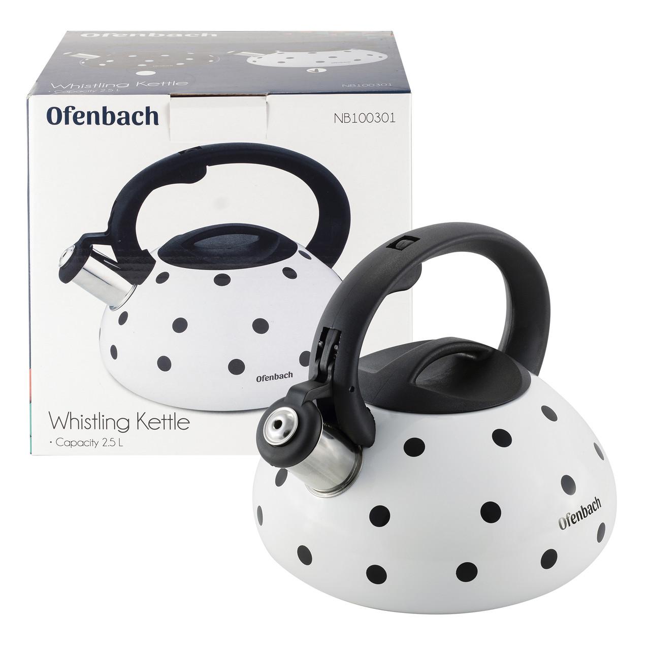 Чайник Ofenbach Черный 2л из нержавеющей стали со свистком и нейлоновой ручкой для индукции и газа KM-100300