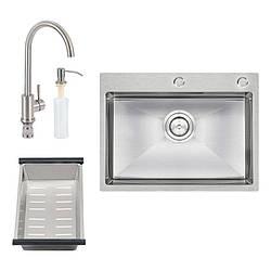 Набор 4 в 1 Q-tap D6045 SET (мойка кухонная Satin  + смеситель + сушка +  диспенсер)