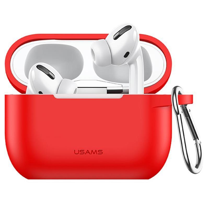 Чехол для Apple Airpods Pro с карабином Usams US-BH568 Silicone Protective Cover Red