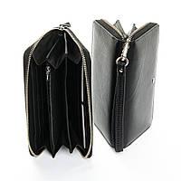 Кошелек женский кожаный черный матовый на молнии стильный большой с ручкой Dr. Bond W38, фото 1