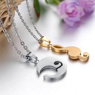 Парные кулоны для двоих влюбленных Музыка медицинская сталь позолота Гравировка: i love you (я люблю тебя), фото 2