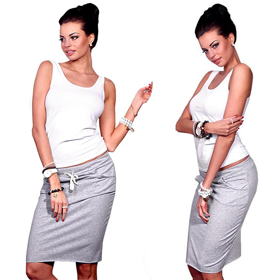 Серая спортивная юбка (Код MF-049) L
