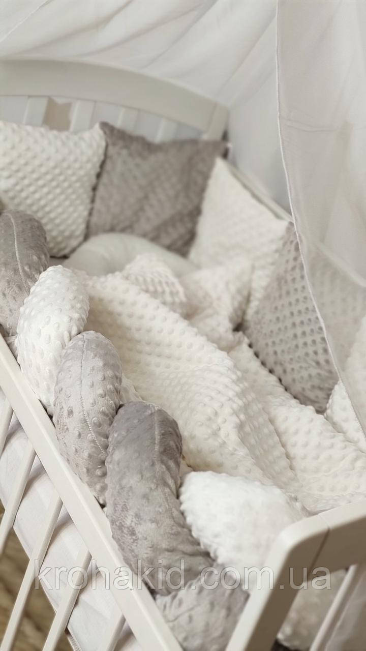 """Набор постельного белья детскую кроватку/ манеж """"Минки"""" - Бортики в кроватку: конверт-плед  - 8 предметов"""