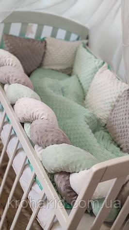 """Набор постельного белья детскую кроватку/ манеж """"Минки"""" - Бортики в кроватку: конверт-плед  - 8 предметов, фото 2"""