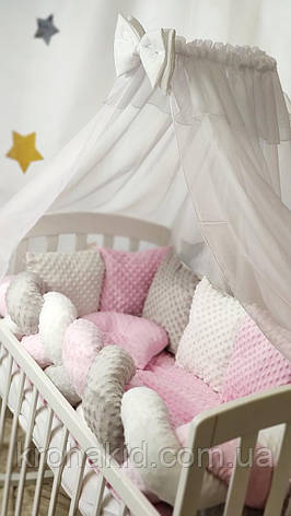 """Набір постільної білизни дитяче ліжечко/ манеж """"Минки"""" - Бортики в ліжечко: конверт-ковдру - 8 предметів, фото 2"""
