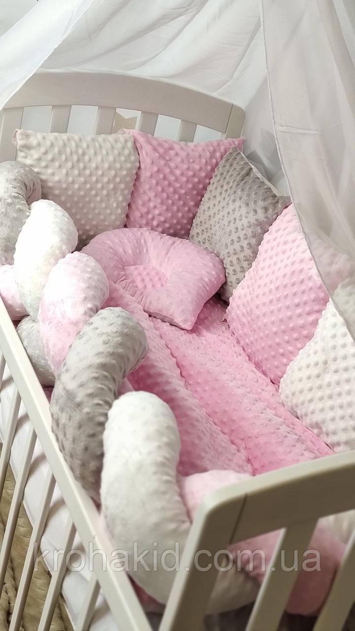"""Набір постільної білизни дитяче ліжечко/ манеж """"Минки"""" - Бортики в ліжечко: конверт-ковдру - 8 предметів"""