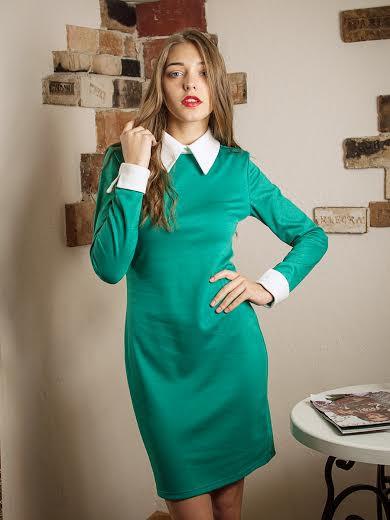 Офисное женское платье с длинным рукавом