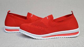 Мокасины женские красного цвета