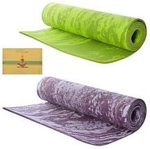 Коврик для йоги и фитнеса Yaga Mat мрамор 6 мм, салатовый + Подарок чехол, фото 2