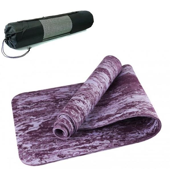 Коврик для йоги и фитнеса Yaga Mat мрамор 6 мм, фиолетовый  + Подарок чехол