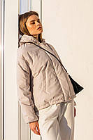 Светлая прямая стеганая куртка в бежевом цвете XS, S, M