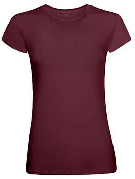 Футболка однотонна жіноча, колір бордовий, кругла горловина