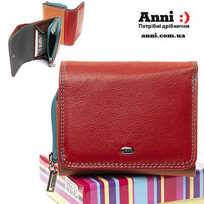 Женский компактный кожаный кошелек 11.5*9.5  red