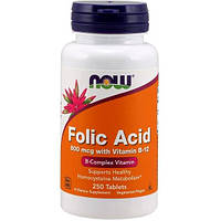 NOW Folic Acid 800 mcg with Vitamin B-12 250 tab