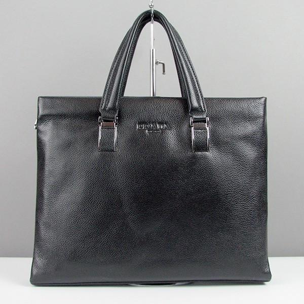 Портфель кожаный отдел для планшета черный Prada 8840-3
