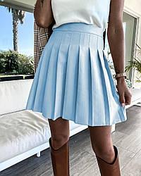 Спідниця жіноча міні у складочку стильна розміри 42 44 46 Новинка 2021 є кольори