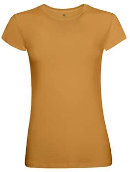 Футболка однотонная женская, цвет оранжевый, круглая горловина
