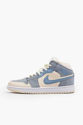 Женские баскетбольные кроссовки Air Jordan 1 Retro Mid White/Blue, фото 2