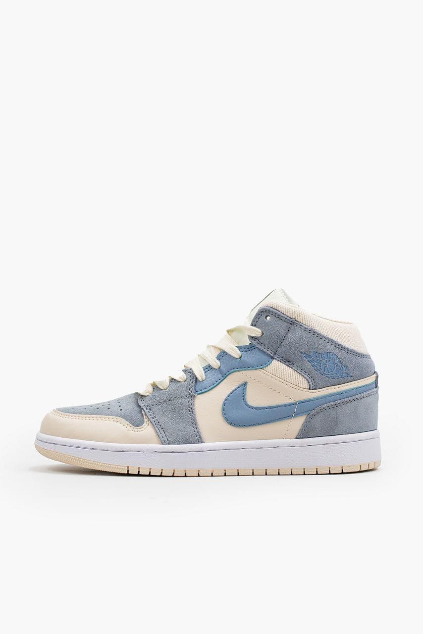 Женские баскетбольные кроссовки Air Jordan 1 Retro Mid White/Blue